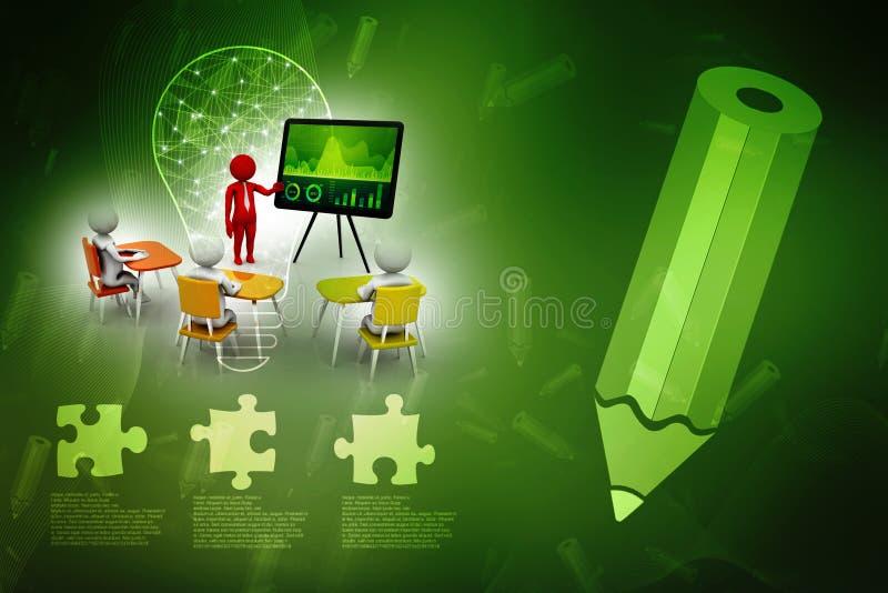 Concepto de reunión, de educación y de aprendizaje, presentación El fondo blanco aislado, 3d rinde libre illustration