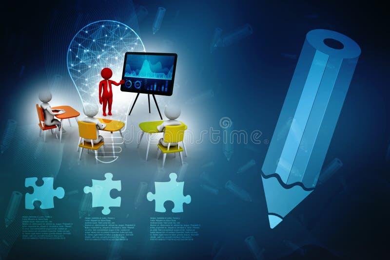 Concepto de reunión, de educación y de aprendizaje, presentación El fondo blanco aislado, 3d rinde ilustración del vector