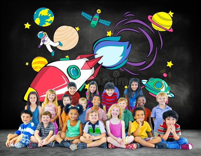 Concepto de Rocket Launch Space Outerspace Planets fotografía de archivo