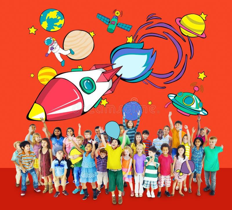 Concepto de Rocket Launch Space Outerspace Planets fotos de archivo