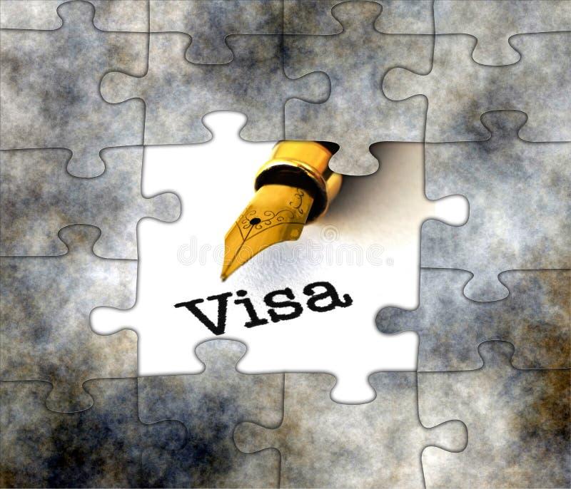 Concepto de rompecabezas de visa imagenes de archivo