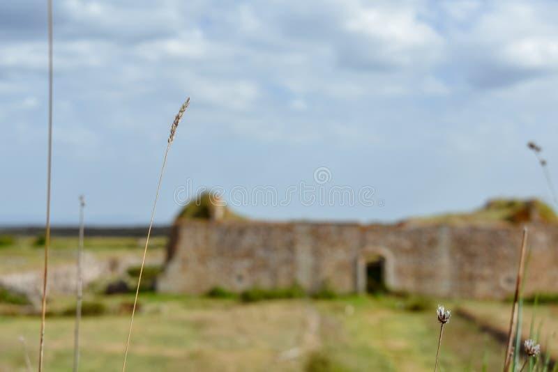 Concepto de ruinas unfocused en paisaje rural foto de archivo libre de regalías