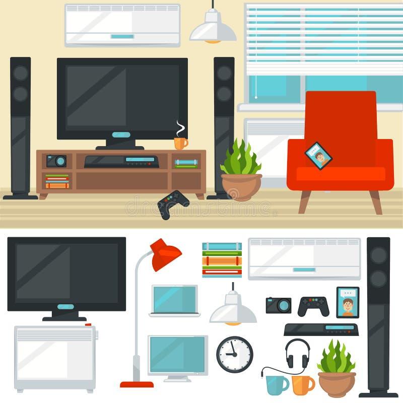 Concepto de sala de estar creativa con la silla y la TV moderno stock de ilustración