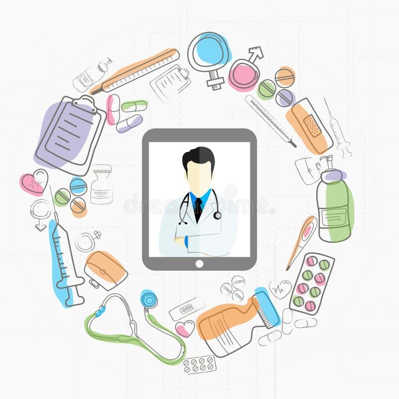 Concepto de salud y médico con el doctor y los diversos elementos ilustración del vector
