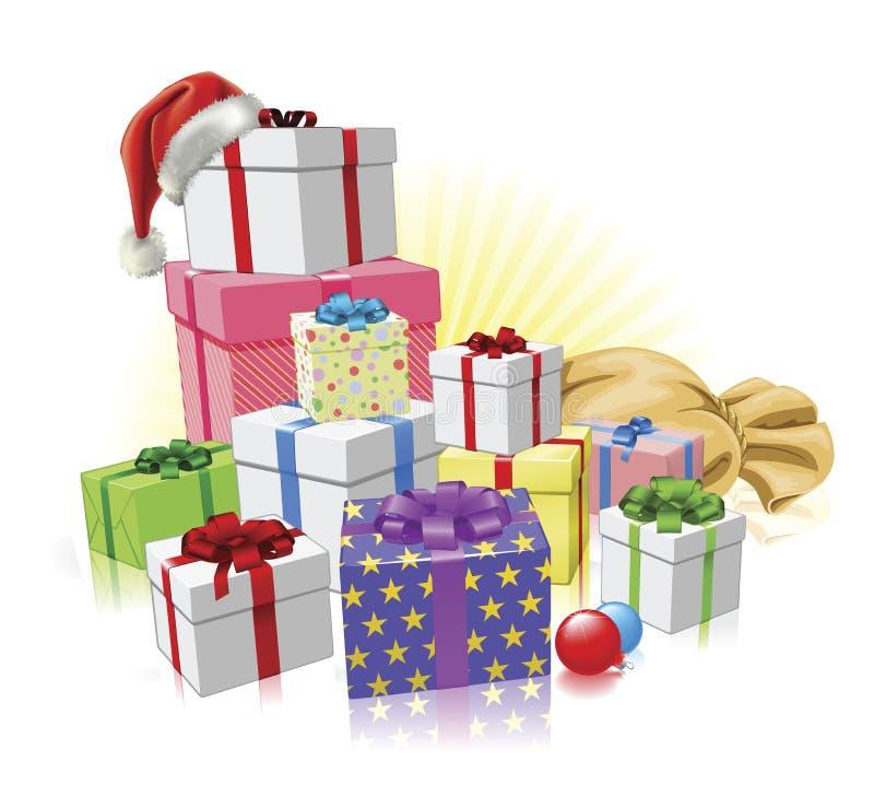 Concepto de Santa de los regalos de la Navidad stock de ilustración