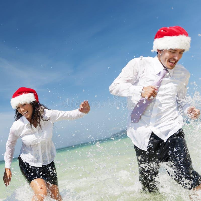 Concepto de Santa Hat Business Travel Vacations de la Navidad fotografía de archivo libre de regalías