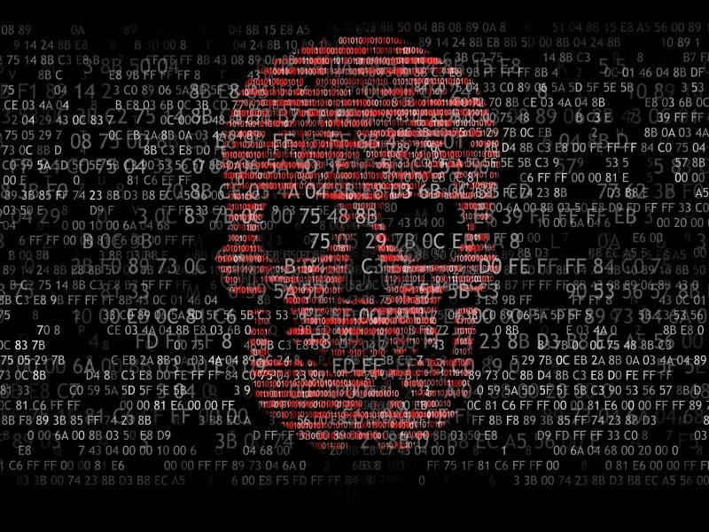 Concepto de seguridad de ordenador El cráneo del código hexadecimal Pirata en línea Criminales cibernéticos Los piratas informáti stock de ilustración