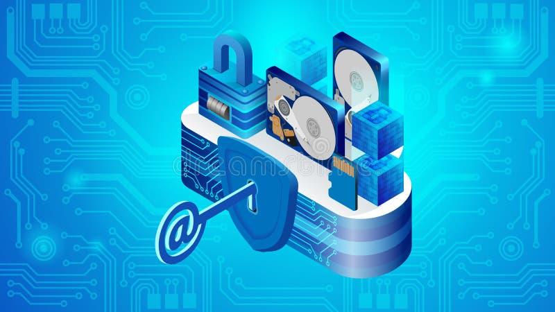 Concepto de seguridad de sistema del datacenter de la nube stock de ilustración