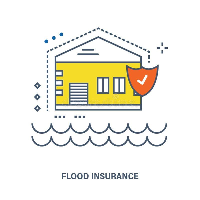 Concepto de seguro de inundación ilustración del vector