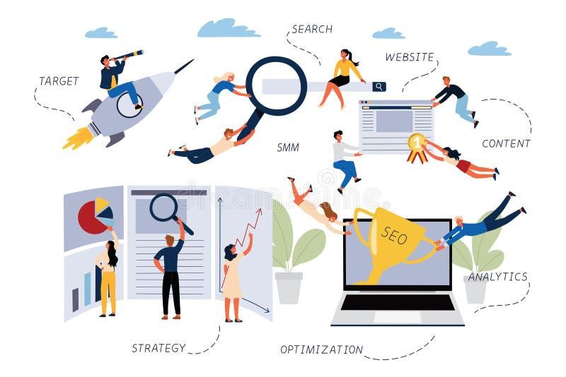 Concepto de SEO, búsqueda, optimización, blanco, página web, SMM, contenido, Analytics, estrategia del negocio stock de ilustración