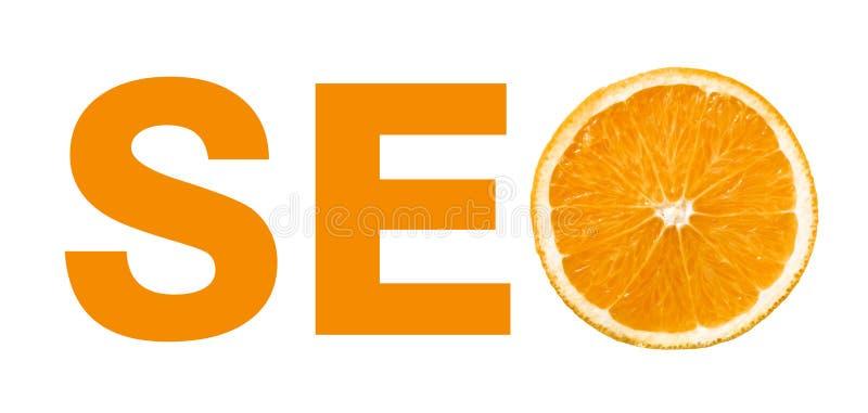 Concepto de Seo con la rebanada de naranja imagenes de archivo