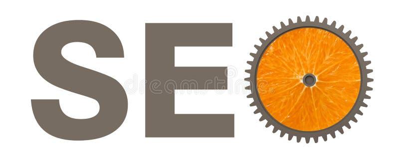 Concepto de Seo con la rueda de engranaje anaranjada foto de archivo libre de regalías