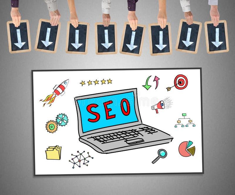 Concepto de Seo en un whiteboard stock de ilustración