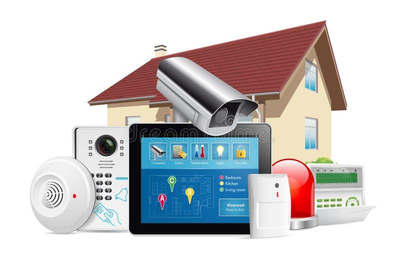 Concepto de sistema de seguridad en el hogar libre illustration