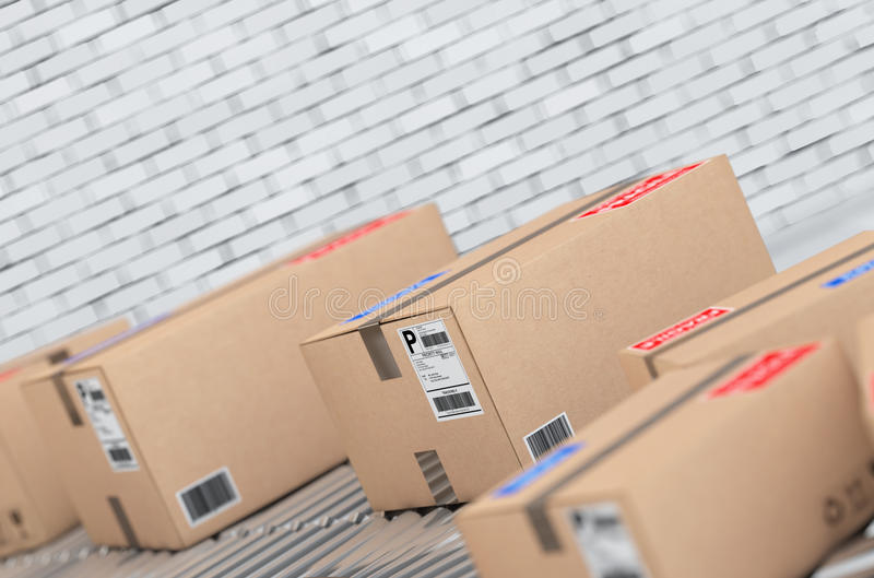 Concepto de sistema de transporte de los paquetes Las cajas de cartón encendido transportan stock de ilustración
