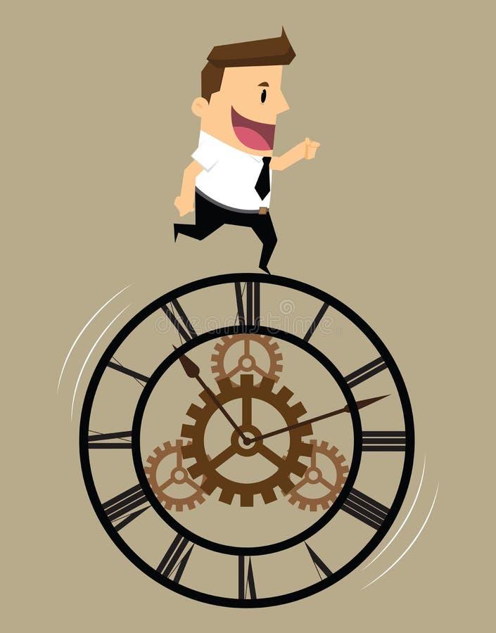Concepto de sistema del tiempo del mecanismo del hombre de negocios stock de ilustración