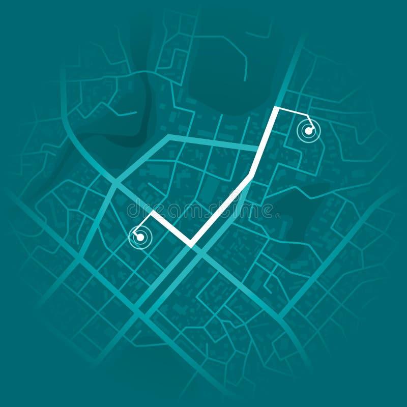 Concepto de sistema de GPS Mapa azul de la ciudad con los marcadores de la ruta Ilustración del vector ilustración del vector