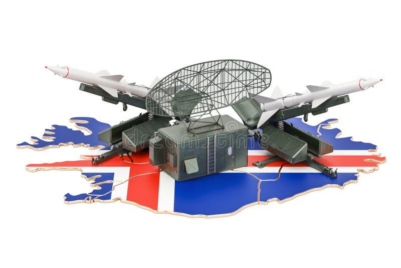Concepto de sistema islandés de la defensa de misil, representación 3D libre illustration