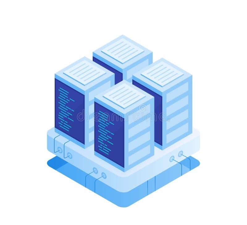 Concepto de sitio del servidor Recibimiento con almacenamiento de datos de la nube y sitio del servidor Estante del servidor libre illustration
