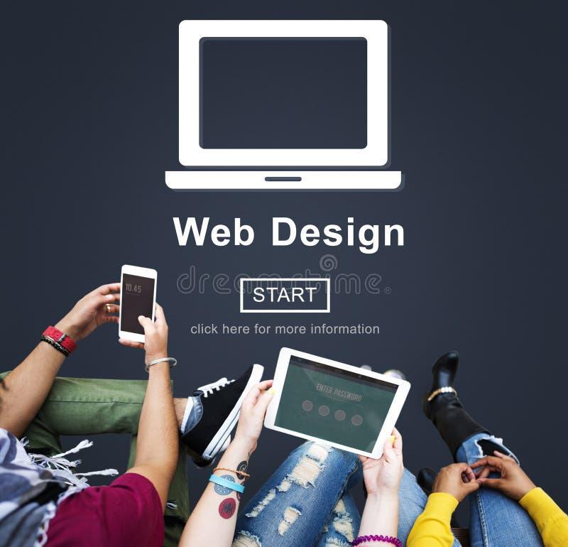 Concepto de software de la disposición de Internet del homepage del diseño web imagenes de archivo