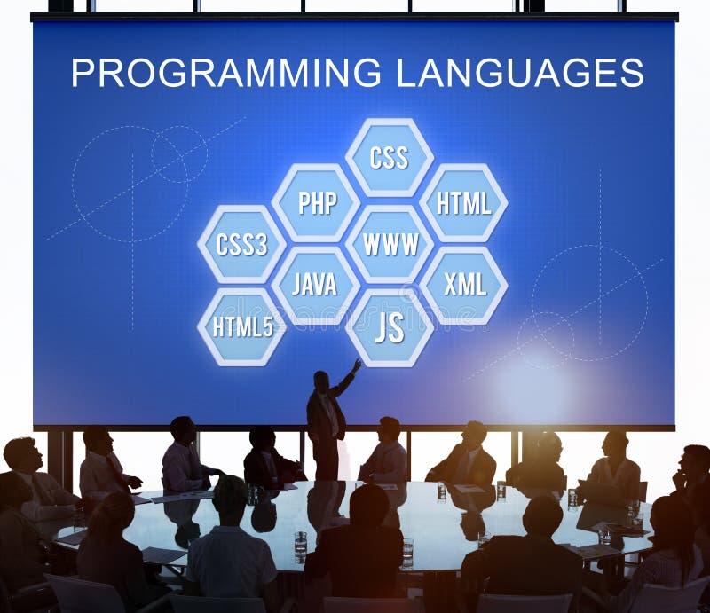 Concepto de software de programación del desarrollador de la codificación del lenguaje imagen de archivo