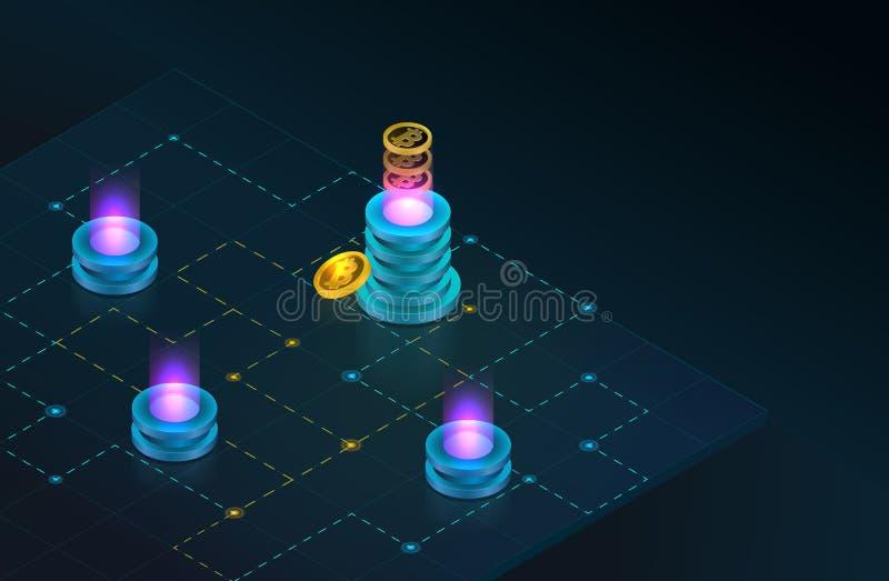 Concepto de Sometric Cryptocurrency y de Blockchain Granja para los bitcoins mineros stock de ilustración