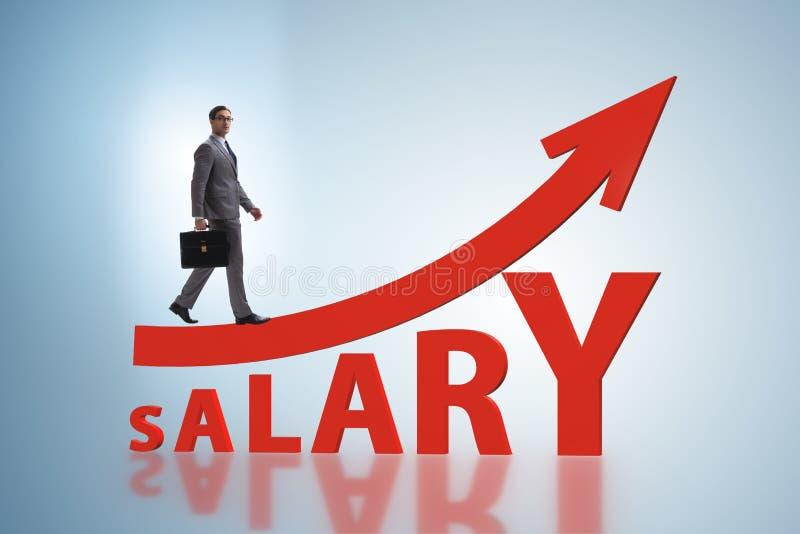 Concepto de sueldo cada vez mayor con el hombre de negocios stock de ilustración