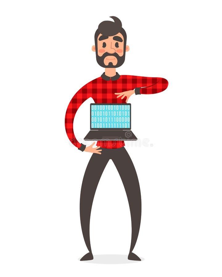 Concepto de super héroe del programador Ejemplo de la gente del vector Código de datos binarios, cifrando en el ordenador portáti stock de ilustración
