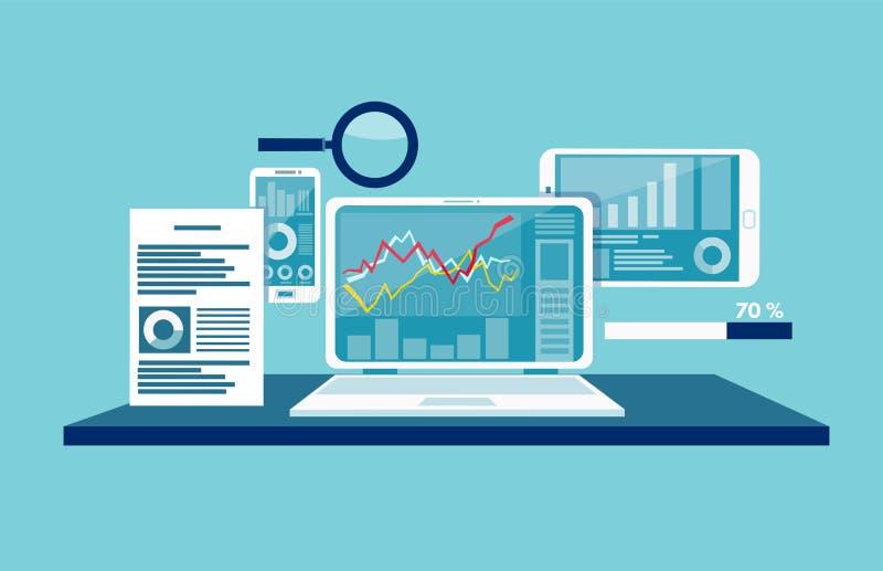 Concepto de supervisión de los datos, analytics del tráfico de la web stock de ilustración