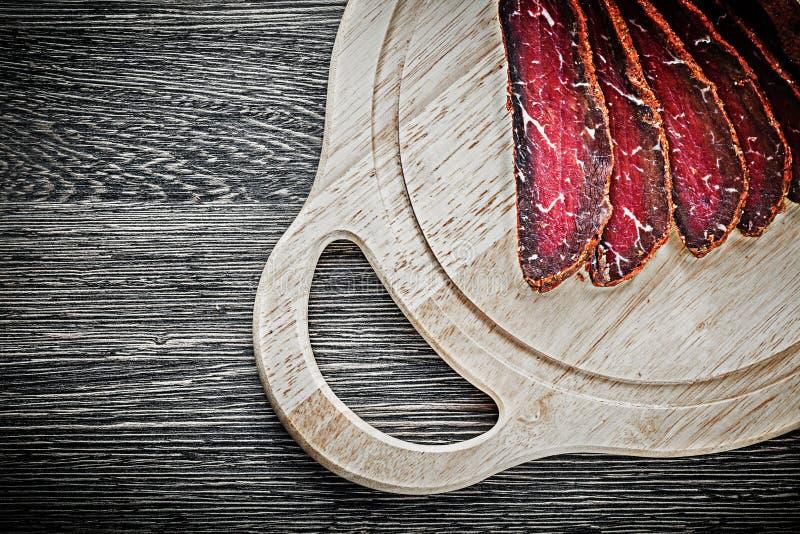Concepto de talla de madera cortado de la comida del tablero del filete imagen de archivo libre de regalías