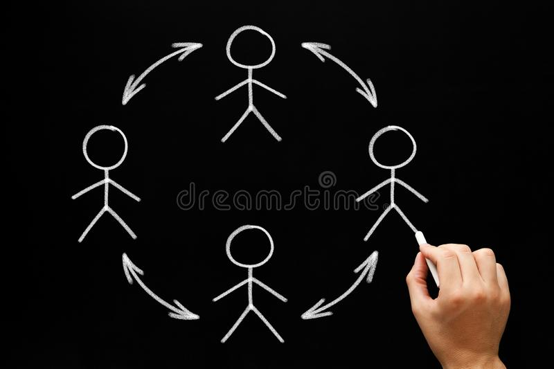 Concepto de Team Collaboration Or Social Network imagen de archivo