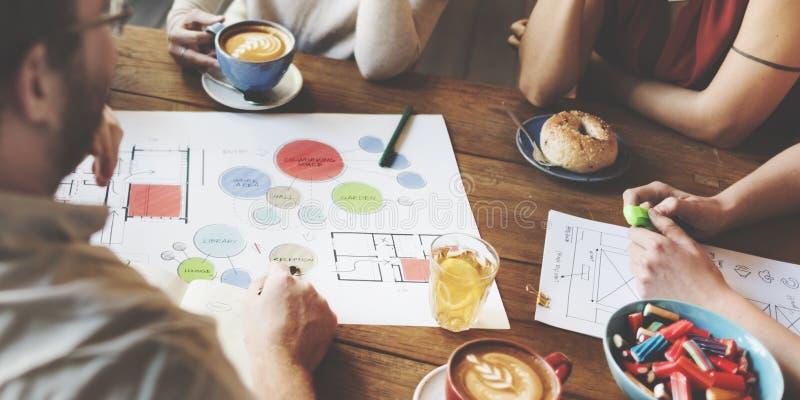 Concepto de Team Meeting Brainstorming Planning Analysing foto de archivo libre de regalías