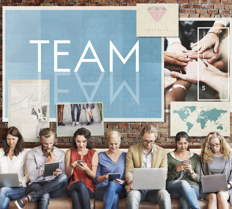 Concepto de Team Teamwork Help Share Contribute foto de archivo