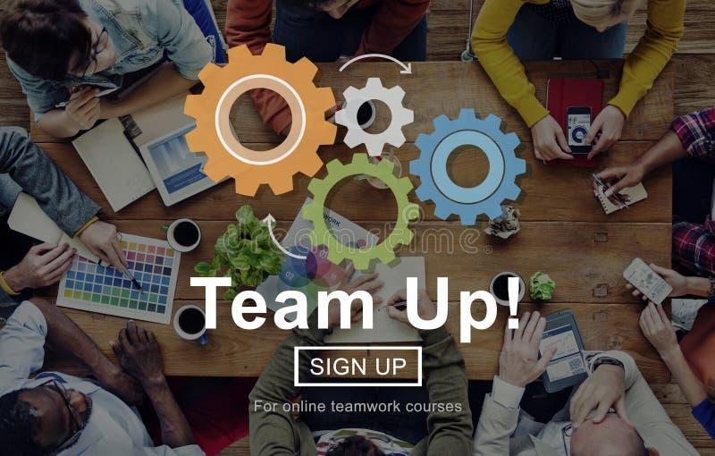 Concepto de Team Up Teamwork Collaboration Togetherness imagen de archivo libre de regalías