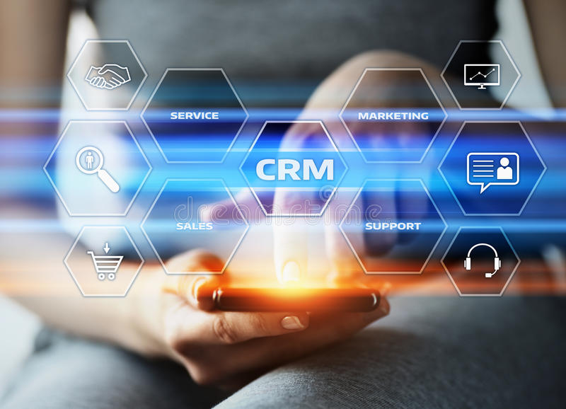 Concepto de Techology de Internet del negocio de la gestión de la relación del cliente de CRM fotografía de archivo