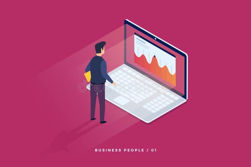 Concepto de tecnología digital Hombre de negocios que se coloca delante del ordenador portátil y de miradas en las estadísticas d stock de ilustración