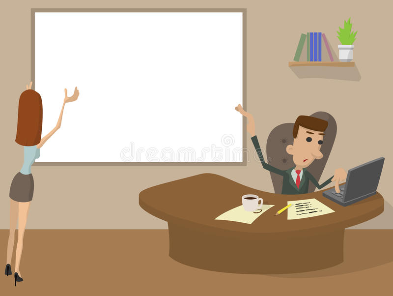 Concepto de trabajo de la historieta de la oficina stock de ilustración