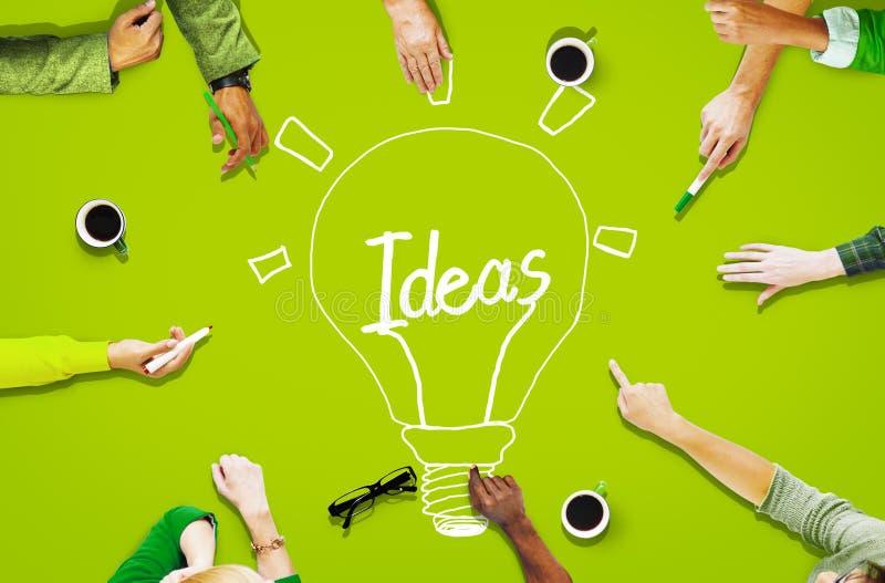 Concepto de trabajo de la innovación de las ideas de la comunidad de la gente de la visión aérea fotos de archivo libres de regalías
