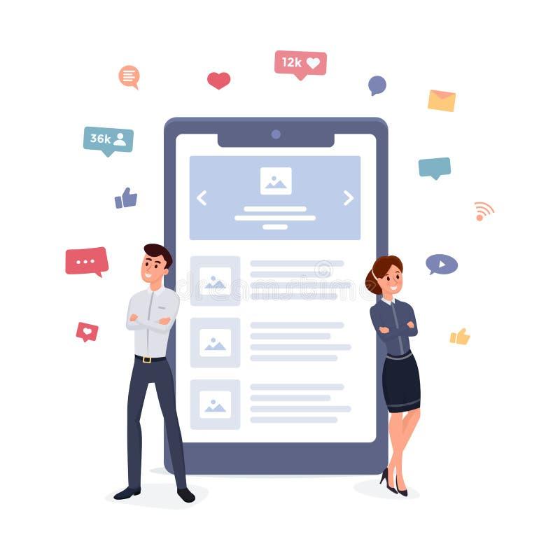 Concepto de trabajo del equipo del desarrollador de aplicación móvil concepto del negocio de la gente del grupo ilustración del vector