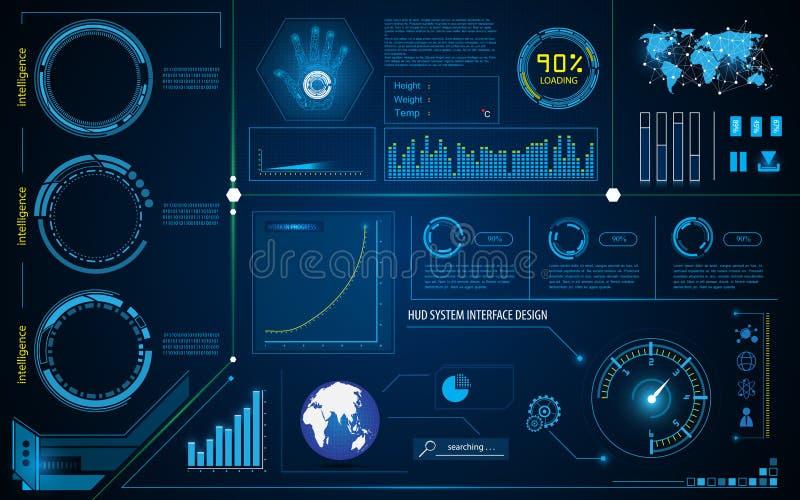 Concepto de trabajo del hud del interfaz de la inteligencia de la tecnología del sistema abstracto de la innovación ilustración del vector