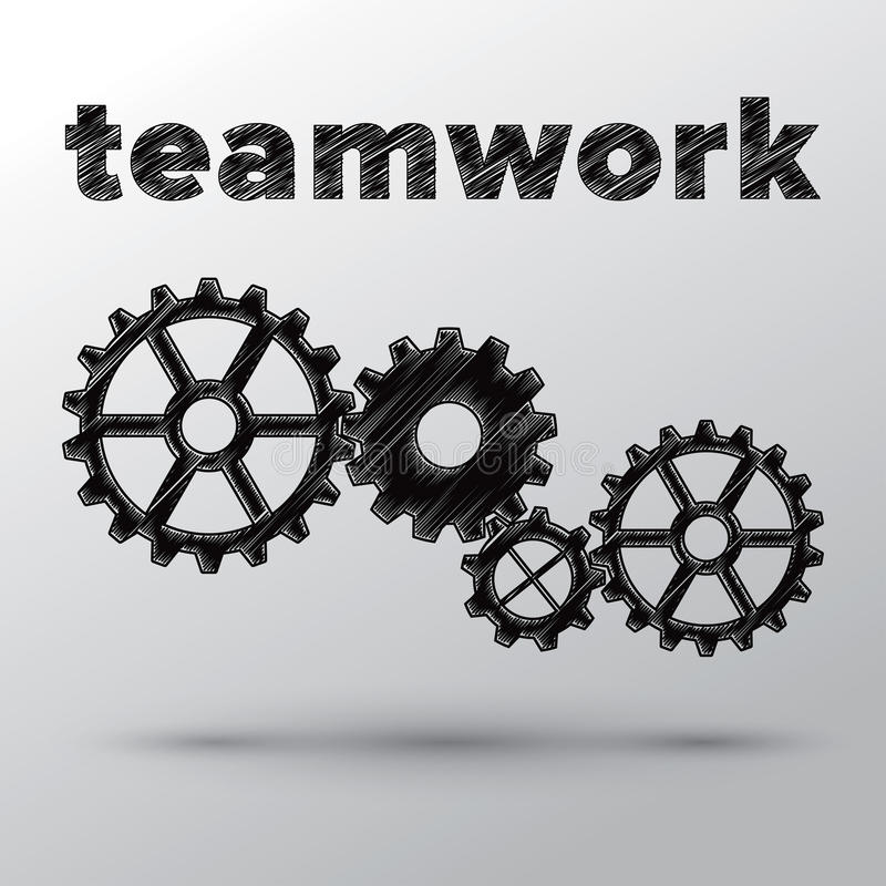 Concepto de trabajo en equipo con los engranajes mecánicos. libre illustration