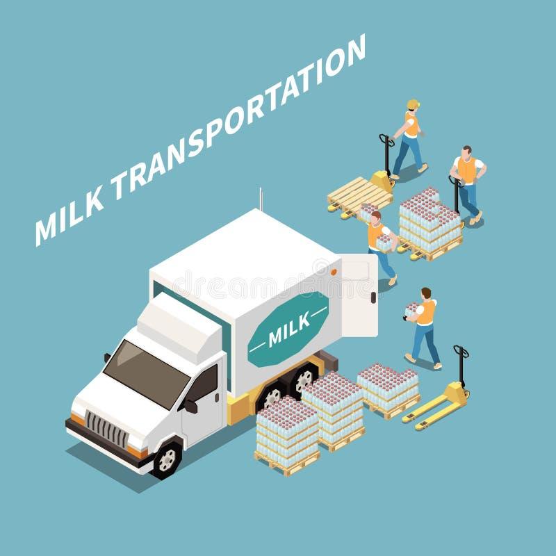 Concepto de transporte de leche ilustración del vector