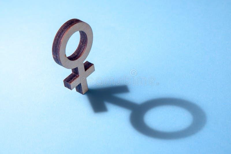 Concepto de travestido o de bisexual Tranender, mujer siente como hombre Sombra del símbolo del ` s Gerner de la mujer bajo la fo imagen de archivo libre de regalías