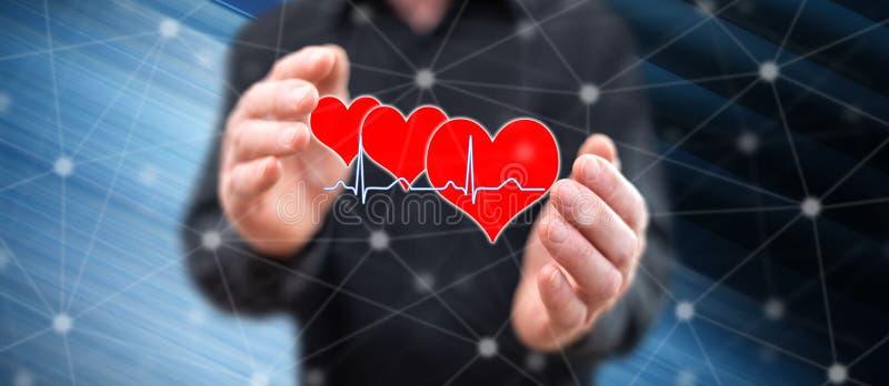 Concepto de un gráfico de los golpes de corazón stock de ilustración