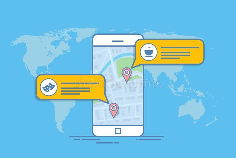 Concepto de un mapa o de un navegador móvil Cuadro de diálogo móvil con la descripción del objeto en el mapa Línea fina vector stock de ilustración