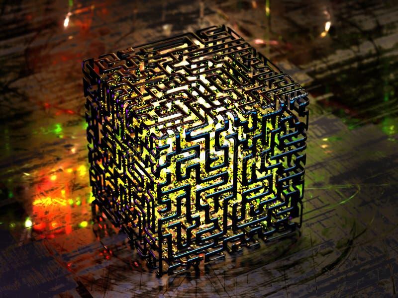 Concepto de un ordenador abstracto del quántum fotografía de archivo