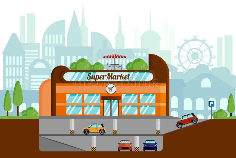 Concepto de un supermercado con el aparcamiento subterráneo E libre illustration