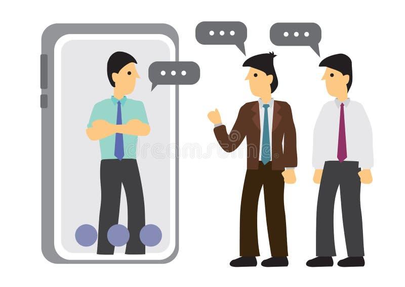 Concepto de una charla o de una conversaci?n m?vil de la gente v?a los tel?fonos m?viles Ilustre la globalización o la conexión libre illustration