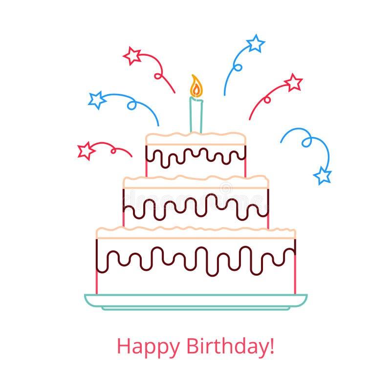 Concepto de una torta de cumpleaños grande con una vela y un caramelo con el feliz cumpleaños de las palabras Ejemplo del vector  ilustración del vector