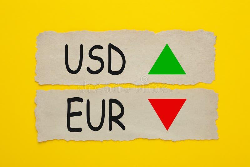 Concepto de USD EUR foto de archivo